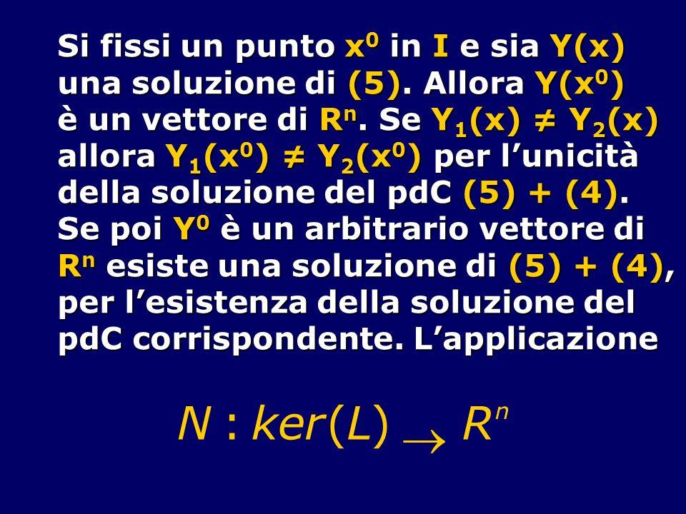 N : k e r ( L ) ® R Si fissi un punto x0 in I e sia Y(x)