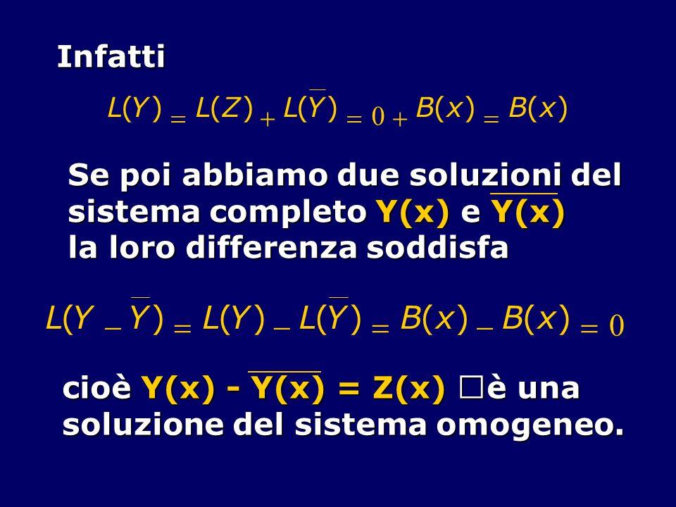L ( Y - ) = B x Infatti Se poi abbiamo due soluzioni del