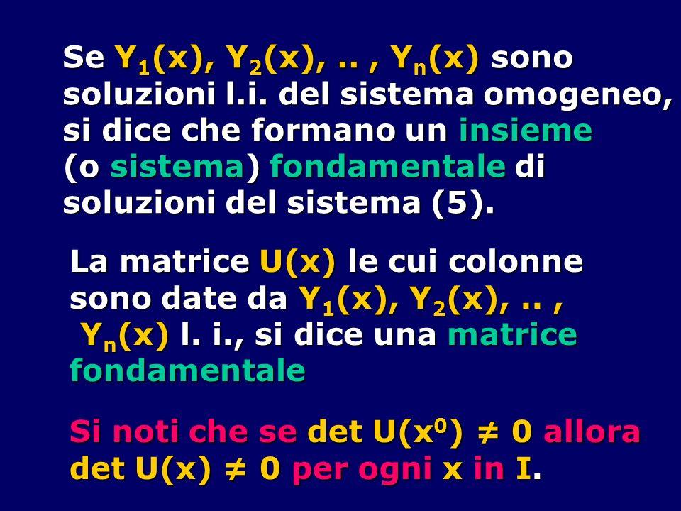 Se Y1(x), Y2(x), .. , Yn(x) sono soluzioni l.i. del sistema omogeneo, si dice che formano un insieme.
