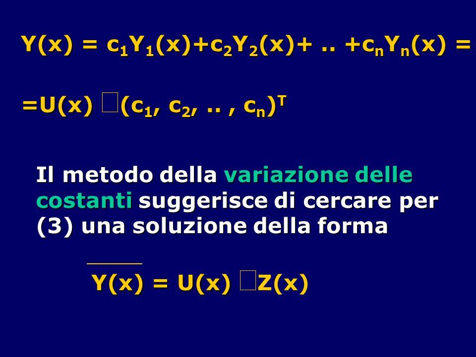 Y(x) = c1Y1(x)+c2Y2(x)+ .. +cnYn(x) =