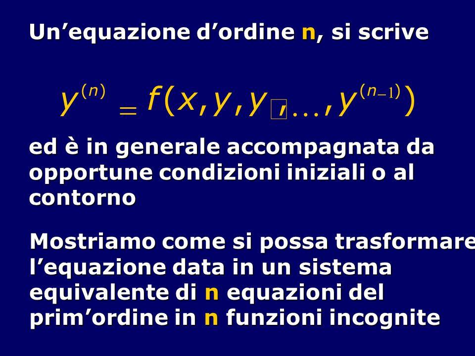 y f ( x , y , y , , y ) = ¢ K Un'equazione d'ordine n, si scrive