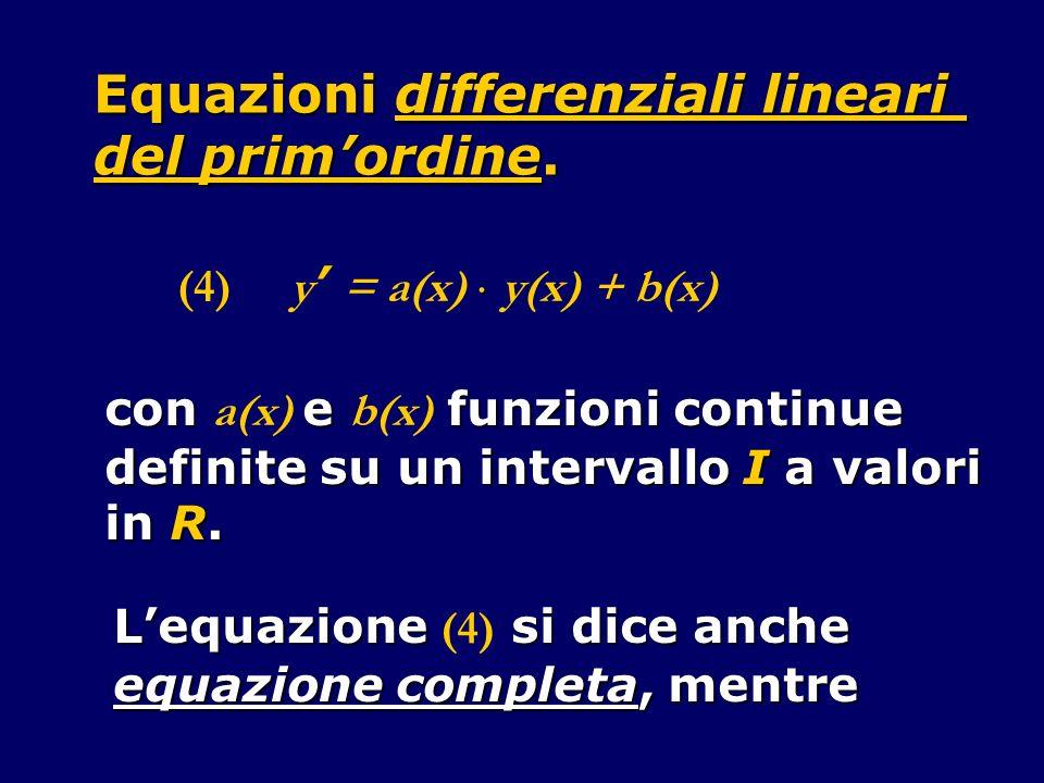 Equazioni differenziali lineari del prim'ordine.