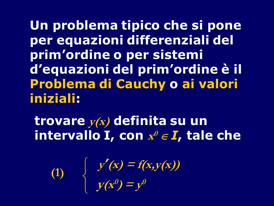  y(x0) = y0 Un problema tipico che si pone