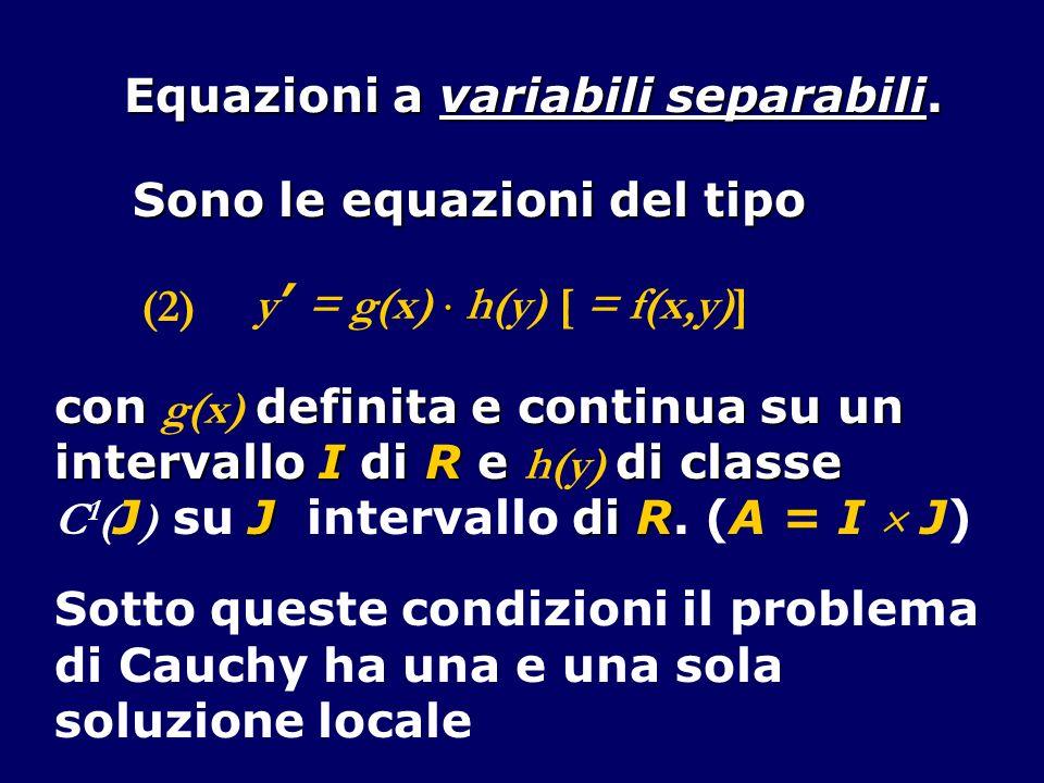 Equazioni a variabili separabili.