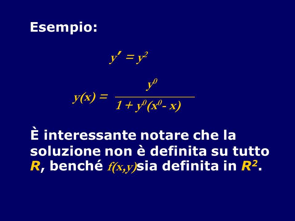 Esempio: y' = y2. y(x) = ____________. y0. 1 + y0(x0- x) È interessante notare che la. soluzione non è definita su tutto.
