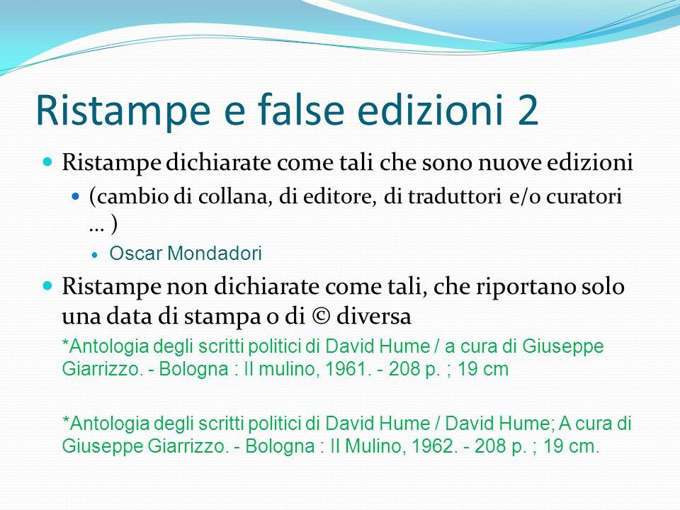 Ristampe e false edizioni 2
