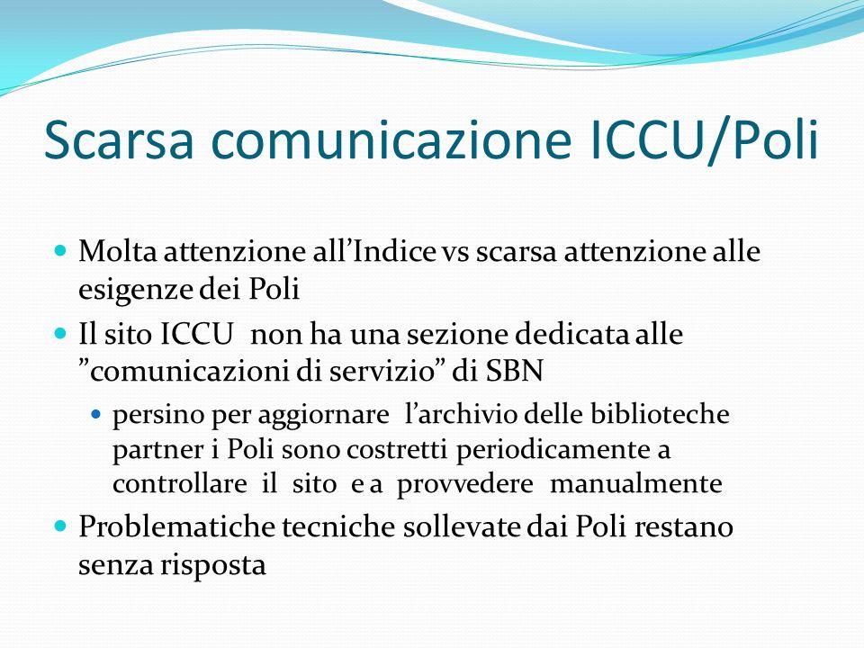 Scarsa comunicazione ICCU/Poli