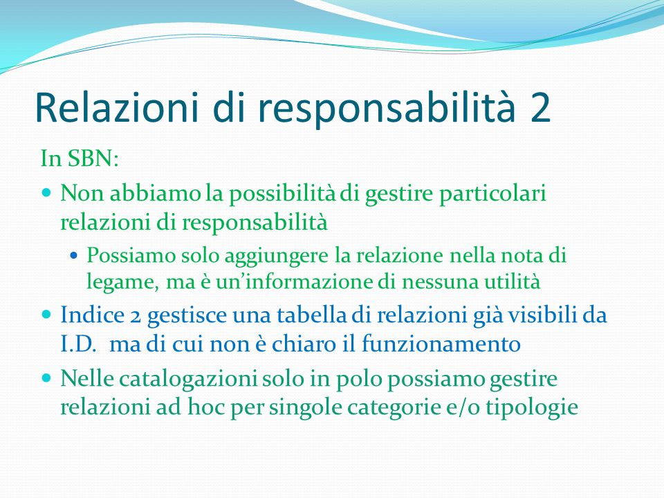 Relazioni di responsabilità 2