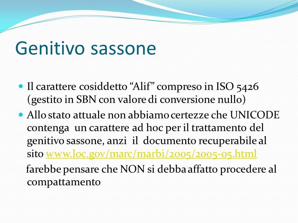 Genitivo sassoneIl carattere cosiddetto Alif compreso in ISO 5426 (gestito in SBN con valore di conversione nullo)