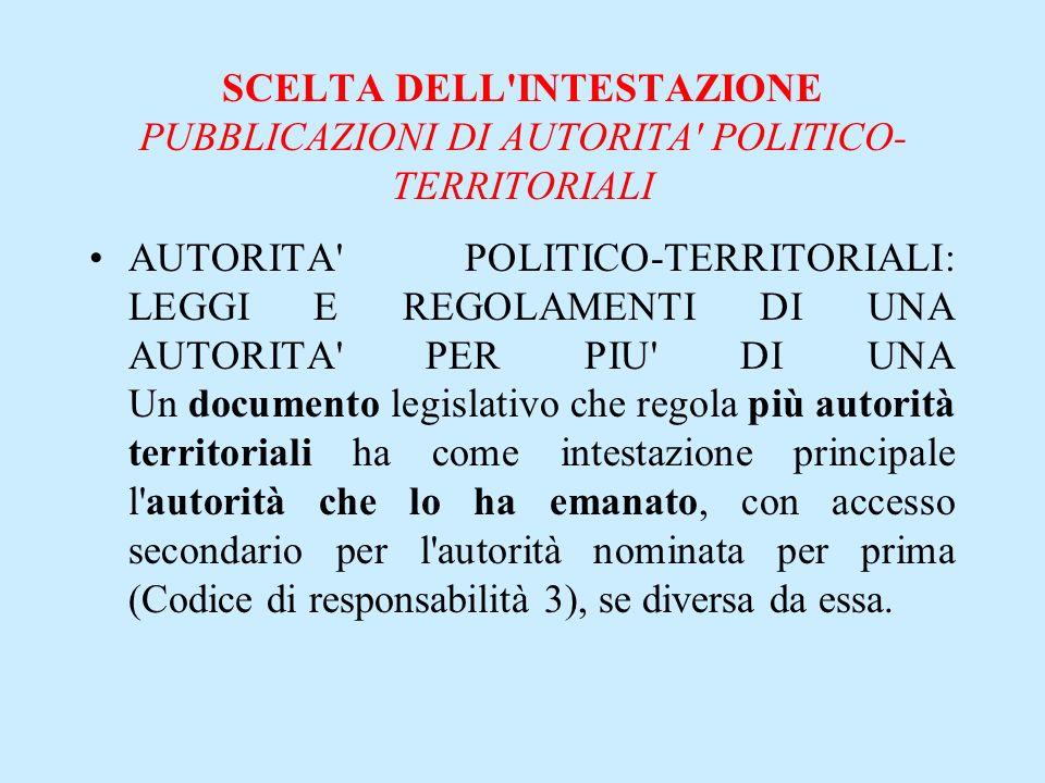 SCELTA DELL INTESTAZIONE PUBBLICAZIONI DI AUTORITA POLITICO-TERRITORIALI