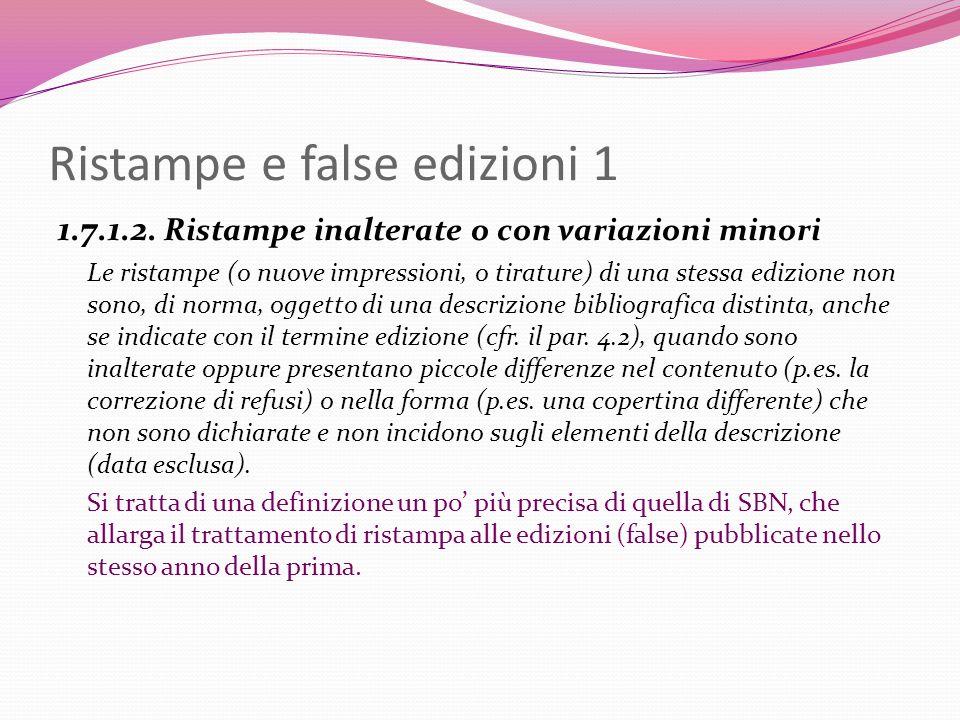 Ristampe e false edizioni 1