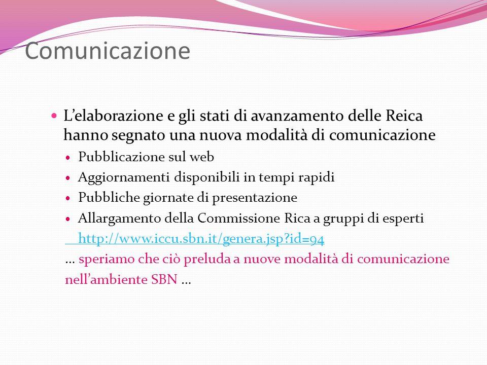 Comunicazione L'elaborazione e gli stati di avanzamento delle Reica hanno segnato una nuova modalità di comunicazione.