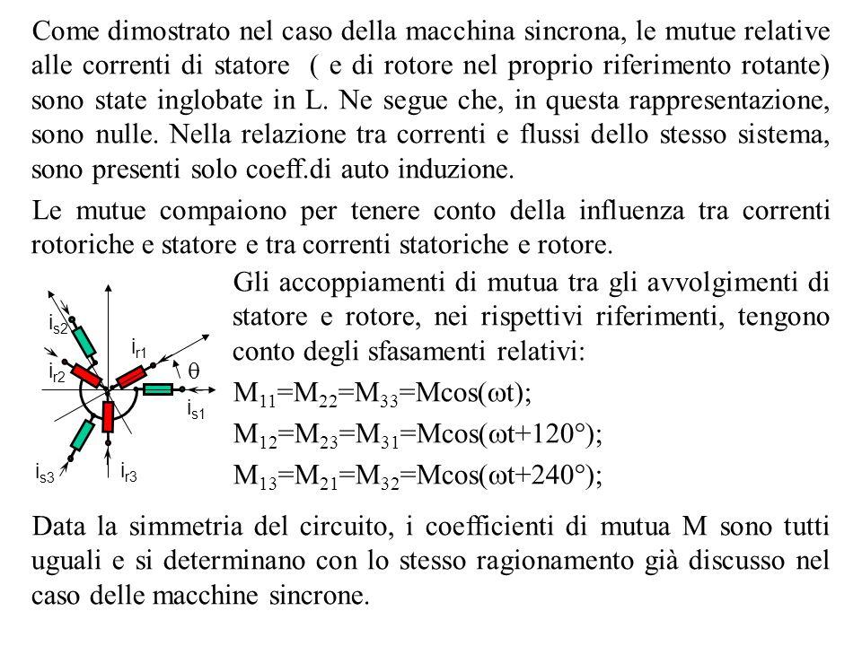 Come dimostrato nel caso della macchina sincrona, le mutue relative alle correnti di statore ( e di rotore nel proprio riferimento rotante) sono state inglobate in L. Ne segue che, in questa rappresentazione, sono nulle. Nella relazione tra correnti e flussi dello stesso sistema, sono presenti solo coeff.di auto induzione.