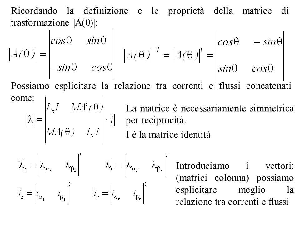 Ricordando la definizione e le proprietà della matrice di trasformazione |A()|: