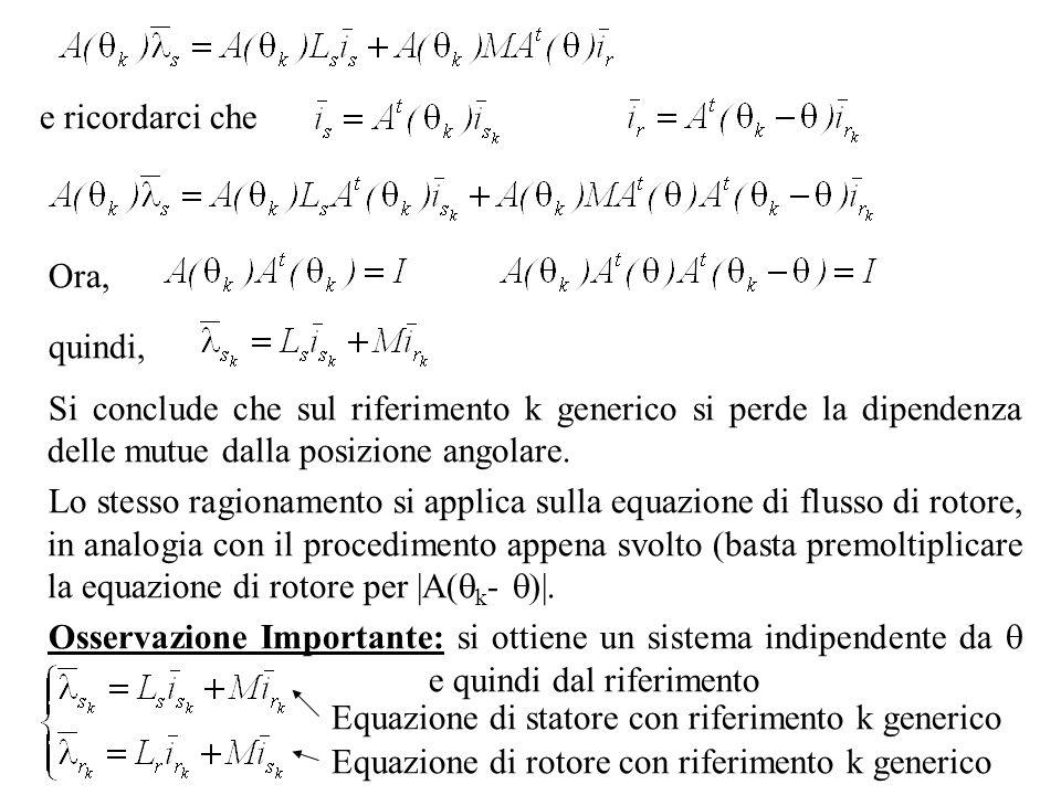 e ricordarci cheOra, quindi, Si conclude che sul riferimento k generico si perde la dipendenza delle mutue dalla posizione angolare.