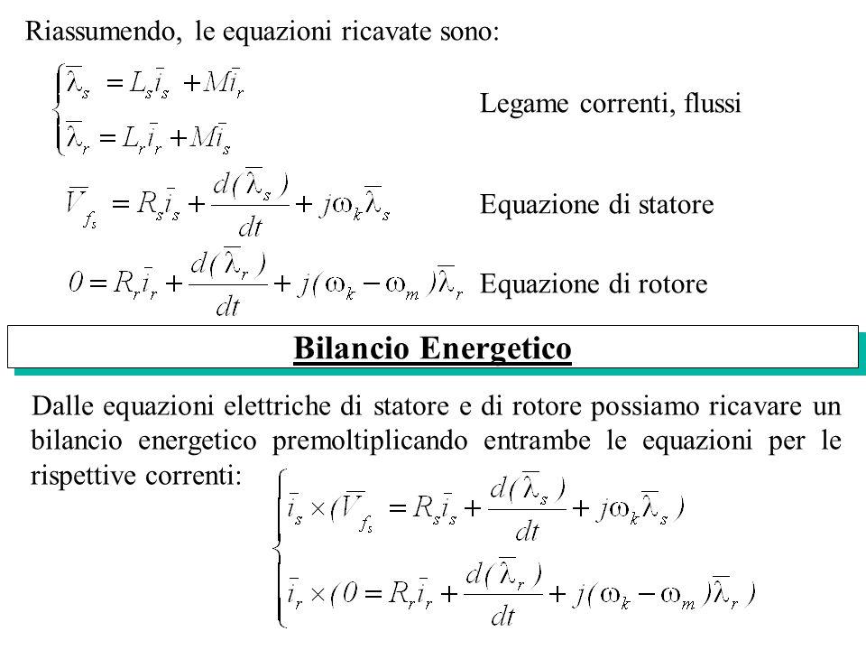 Bilancio Energetico Riassumendo, le equazioni ricavate sono: