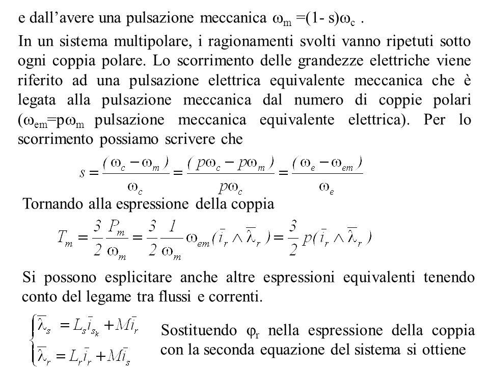e dall'avere una pulsazione meccanica m =(1- s)c .