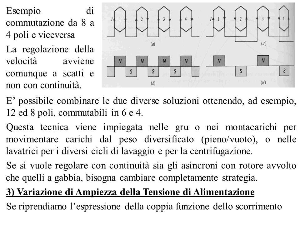Esempio di commutazione da 8 a 4 poli e viceversa