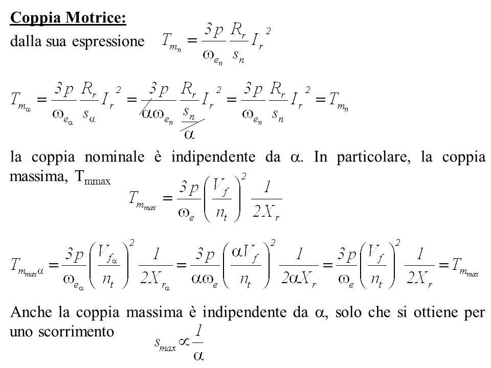 Coppia Motrice:dalla sua espressione. la coppia nominale è indipendente da . In particolare, la coppia massima, Tmmax.