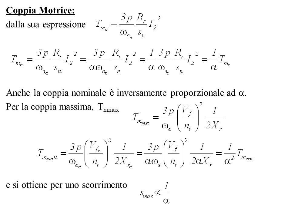 Coppia Motrice:dalla sua espressione. Anche la coppia nominale è inversamente proporzionale ad . Per la coppia massima, Tmmax.