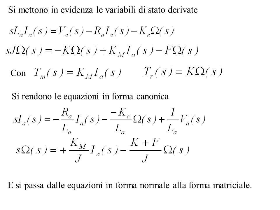 Si mettono in evidenza le variabili di stato derivate
