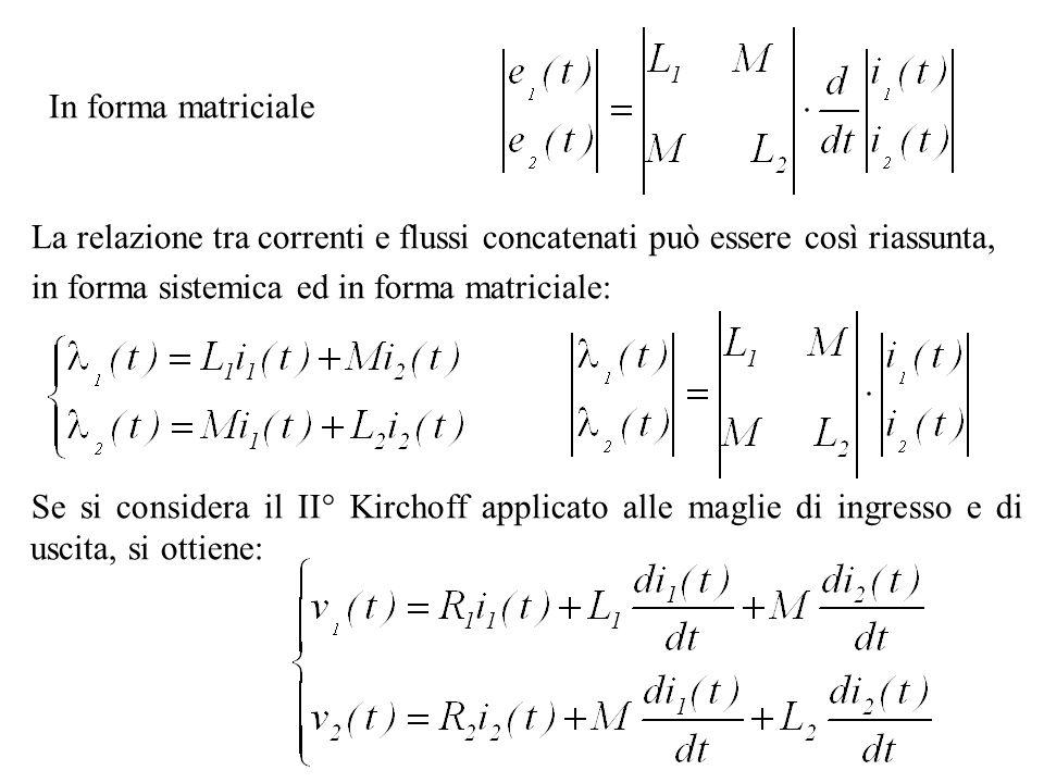 In forma matriciale La relazione tra correnti e flussi concatenati può essere così riassunta, in forma sistemica ed in forma matriciale: