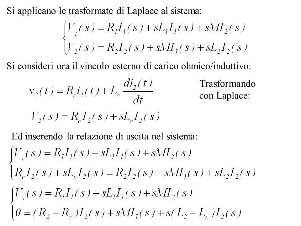 Si applicano le trasformate di Laplace al sistema: