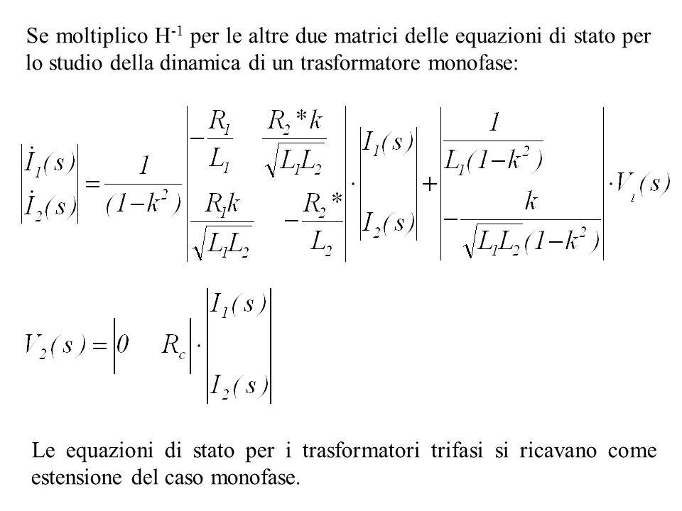 Se moltiplico H-1 per le altre due matrici delle equazioni di stato per lo studio della dinamica di un trasformatore monofase: