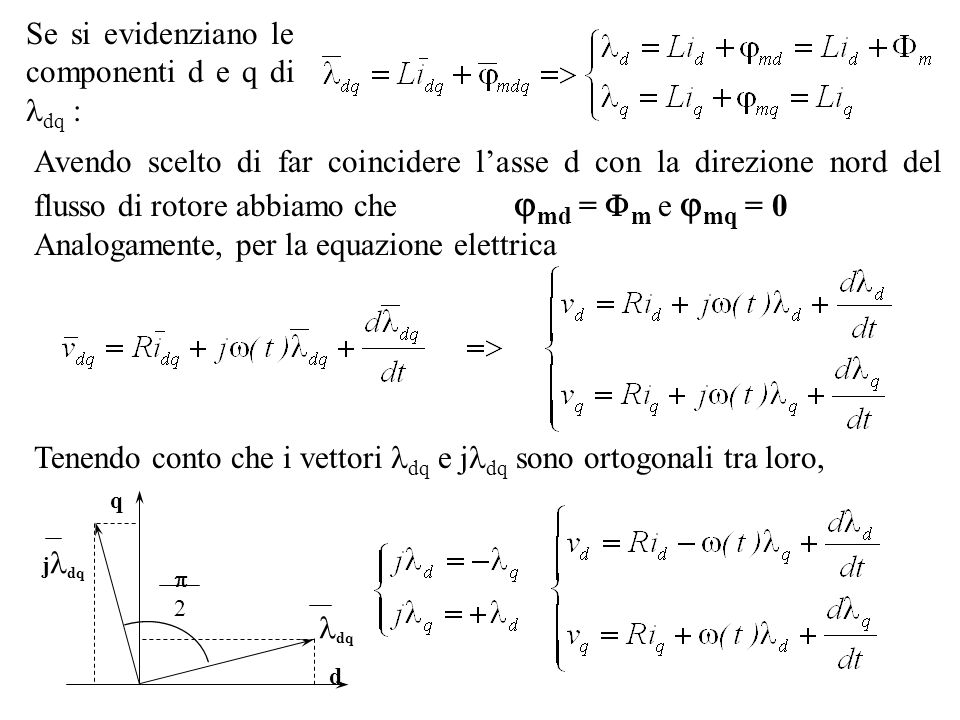 Se si evidenziano le componenti d e q di dq :
