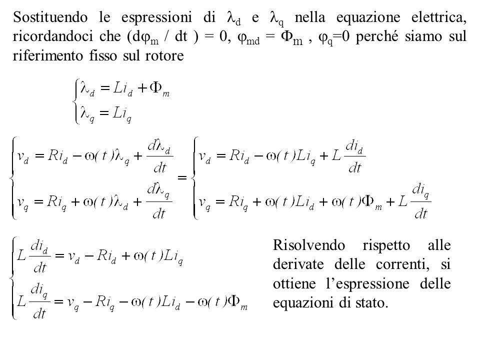 Sostituendo le espressioni di d e q nella equazione elettrica, ricordandoci che (dm / dt ) = 0, md = m , q=0 perché siamo sul riferimento fisso sul rotore