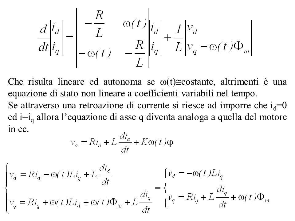 Che risulta lineare ed autonoma se (t)costante, altrimenti è una equazione di stato non lineare a coefficienti variabili nel tempo.