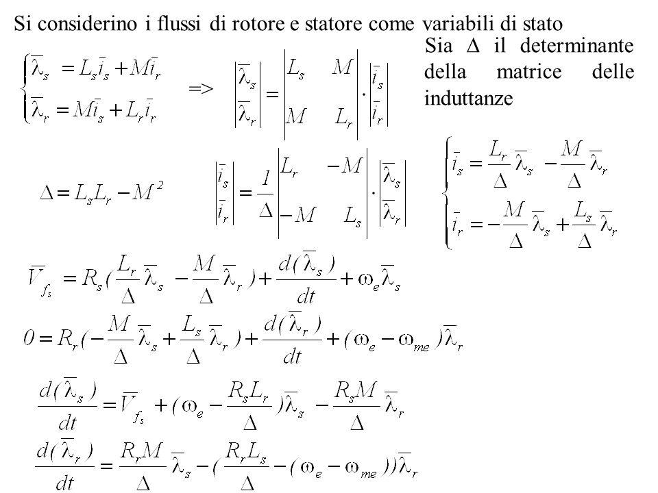 Si considerino i flussi di rotore e statore come variabili di stato