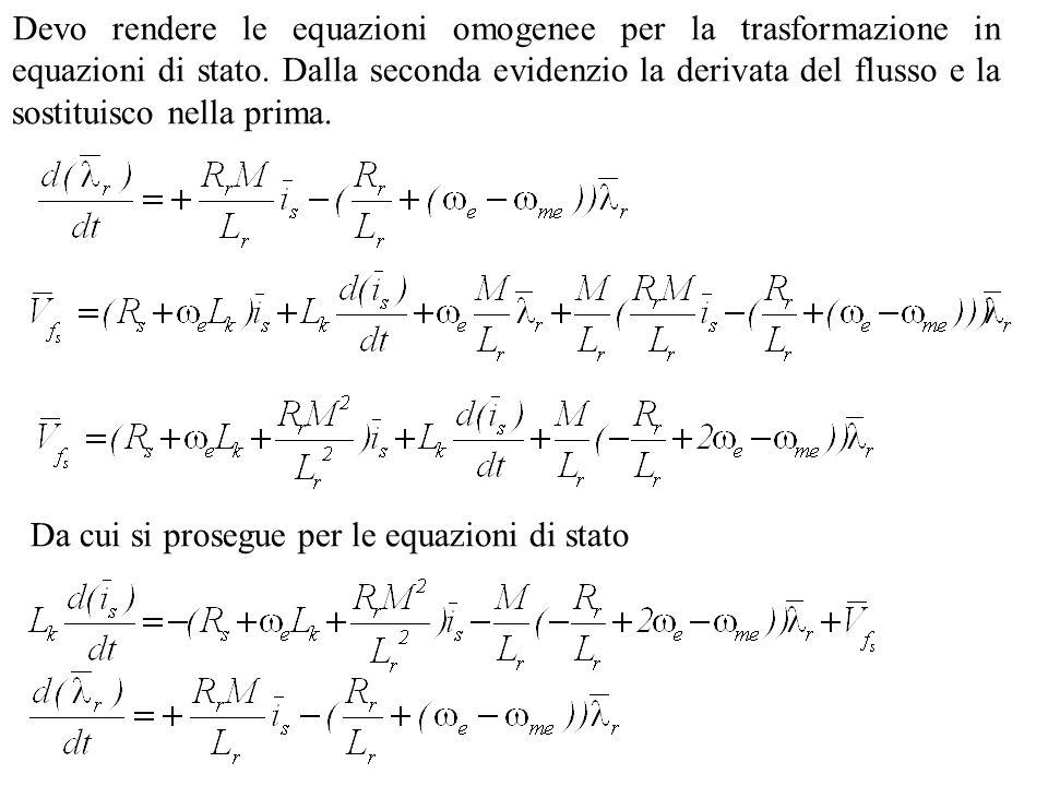 Devo rendere le equazioni omogenee per la trasformazione in equazioni di stato. Dalla seconda evidenzio la derivata del flusso e la sostituisco nella prima.