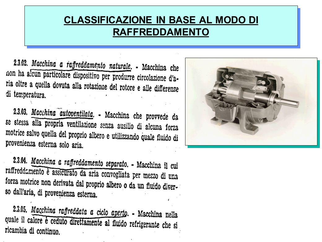 CLASSIFICAZIONE IN BASE AL MODO DI RAFFREDDAMENTO