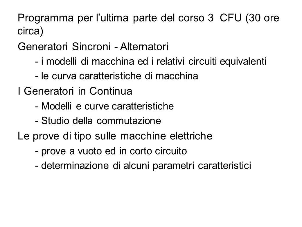 Programma per l'ultima parte del corso 3 CFU (30 ore circa)