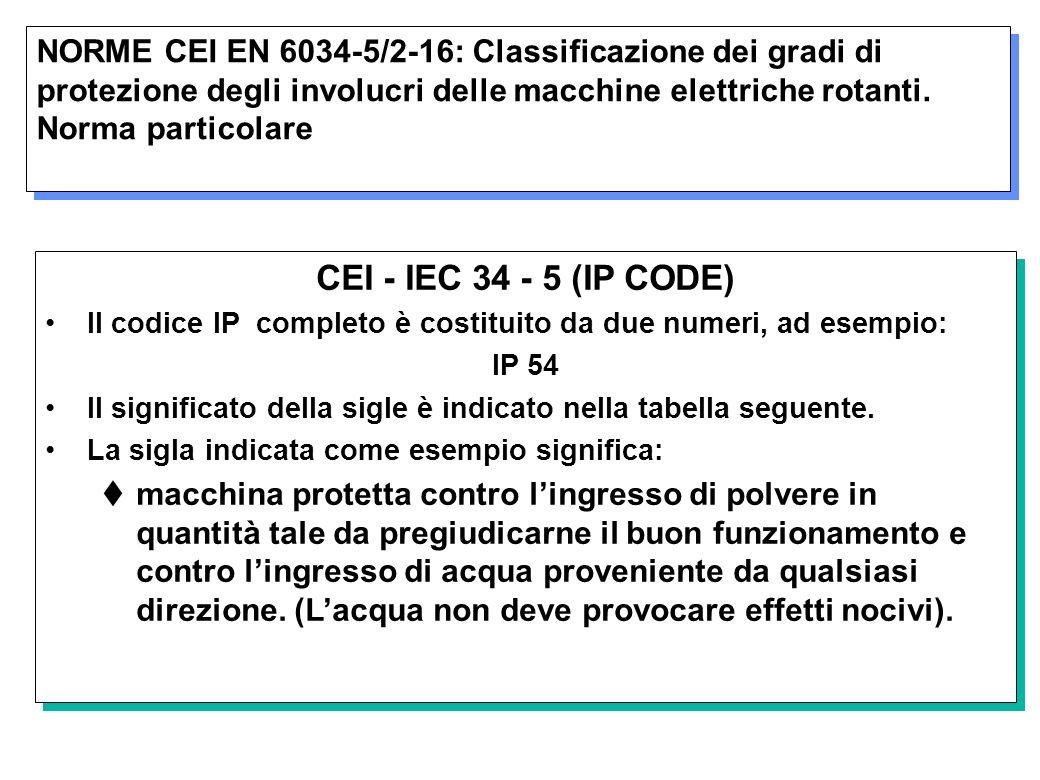 NORME CEI EN 6034-5/2-16: Classificazione dei gradi di protezione degli involucri delle macchine elettriche rotanti. Norma particolare