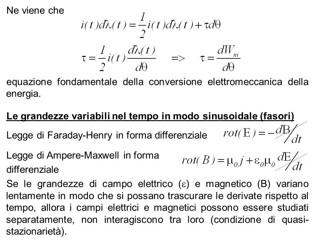 Ne viene che equazione fondamentale della conversione elettromeccanica della energia. Le grandezze variabili nel tempo in modo sinusoidale (fasori)