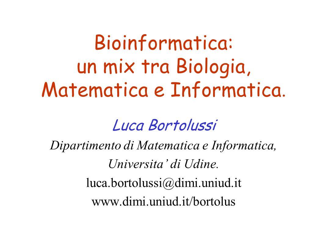 Bioinformatica: un mix tra Biologia, Matematica e Informatica.