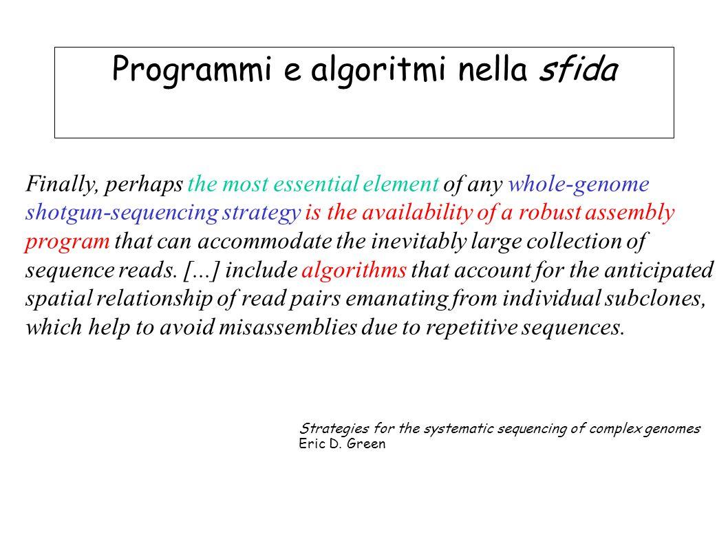 Programmi e algoritmi nella sfida