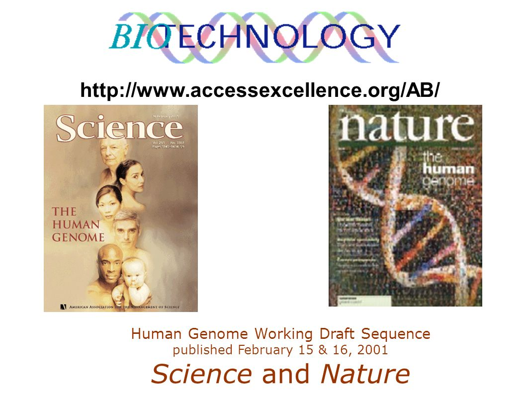 http://www.accessexcellence.org/AB/Human Genome Working Draft Sequence published February 15 & 16, 2001 Science and Nature.