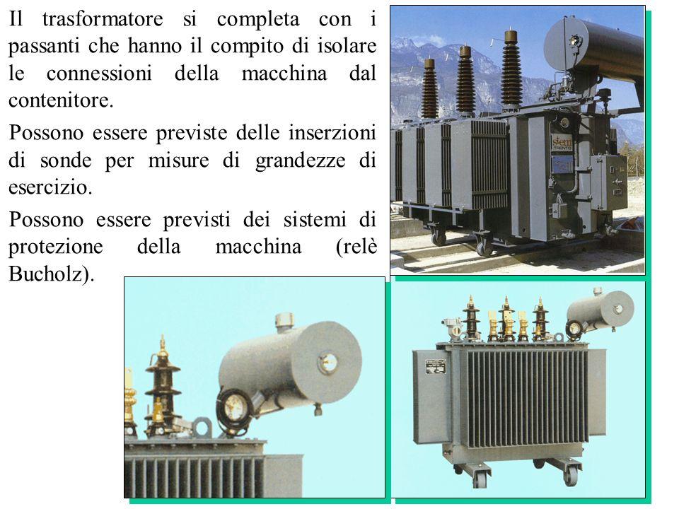 Il trasformatore si completa con i passanti che hanno il compito di isolare le connessioni della macchina dal contenitore.