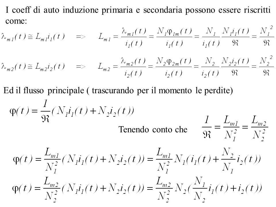 I coeff di auto induzione primaria e secondaria possono essere riscritti come: