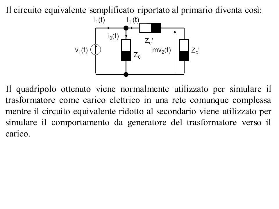 Il circuito equivalente semplificato riportato al primario diventa così: