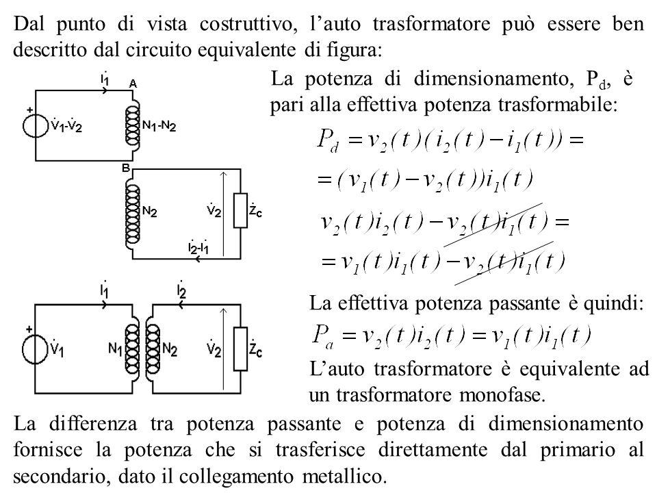 Dal punto di vista costruttivo, l'auto trasformatore può essere ben descritto dal circuito equivalente di figura: