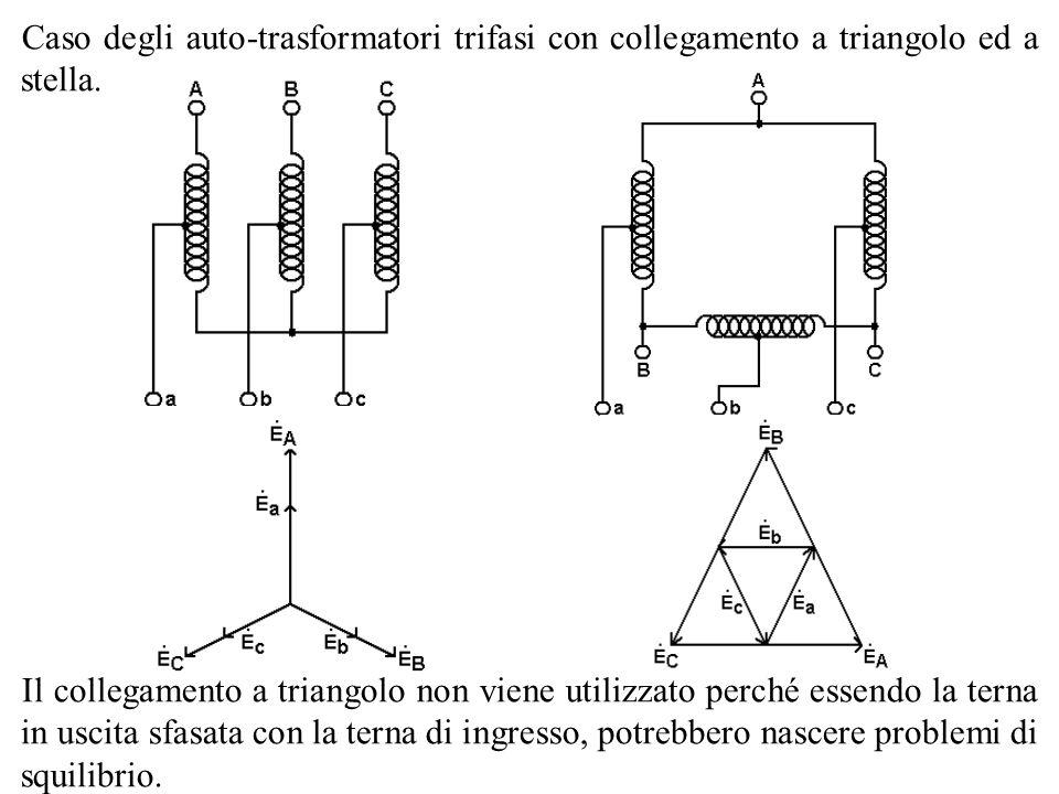 Caso degli auto-trasformatori trifasi con collegamento a triangolo ed a stella.