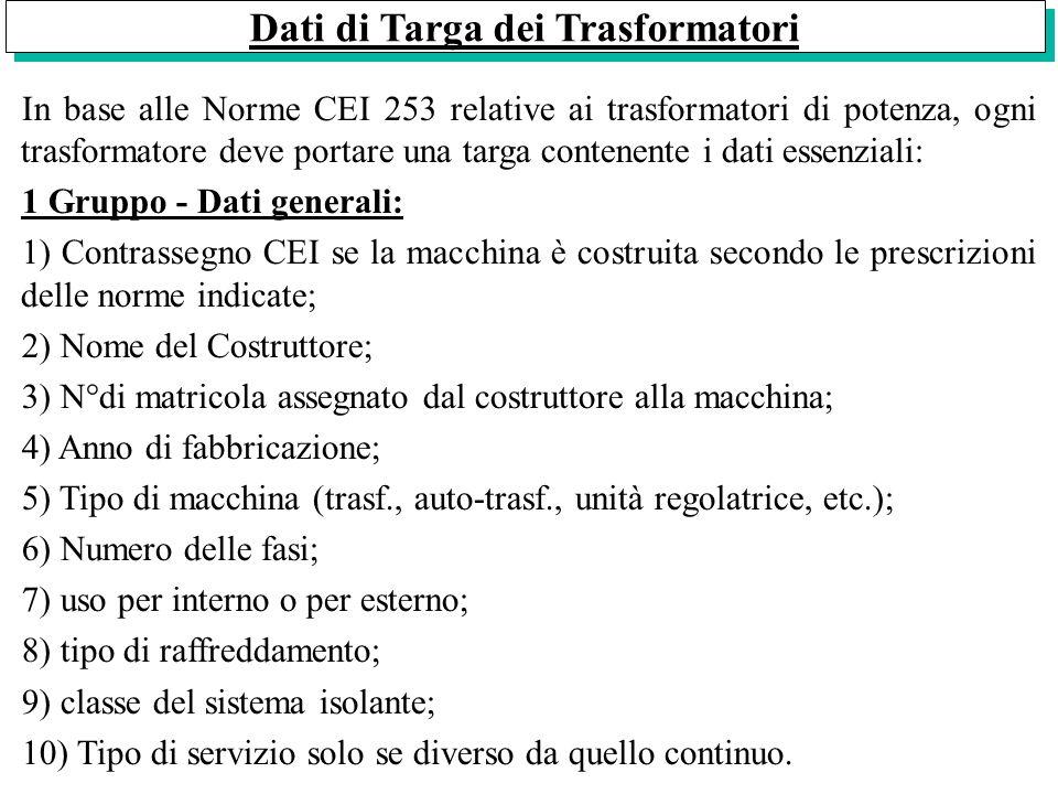 Dati di Targa dei Trasformatori