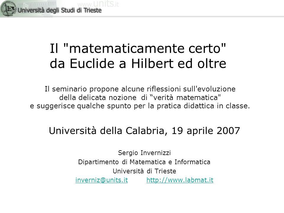 Il matematicamente certo da Euclide a Hilbert ed oltre