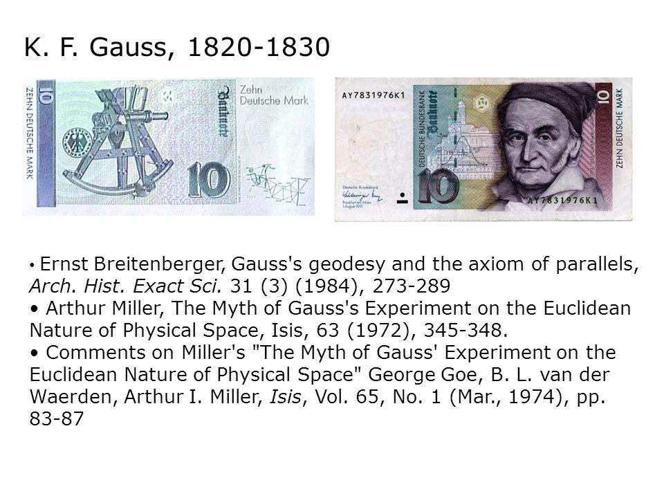 K. F. Gauss, 1820-1830Ernst Breitenberger, Gauss s geodesy and the axiom of parallels, Arch. Hist. Exact Sci. 31 (3) (1984), 273-289.