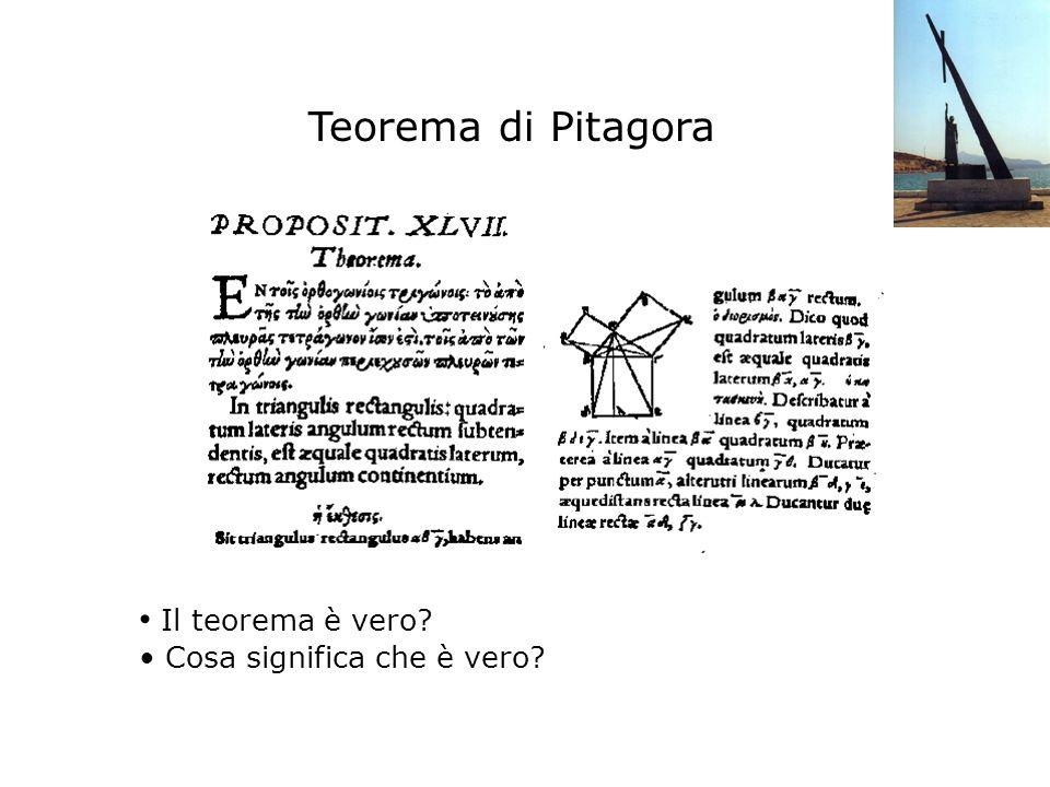 Teorema di Pitagora Il teorema è vero Cosa significa che è vero