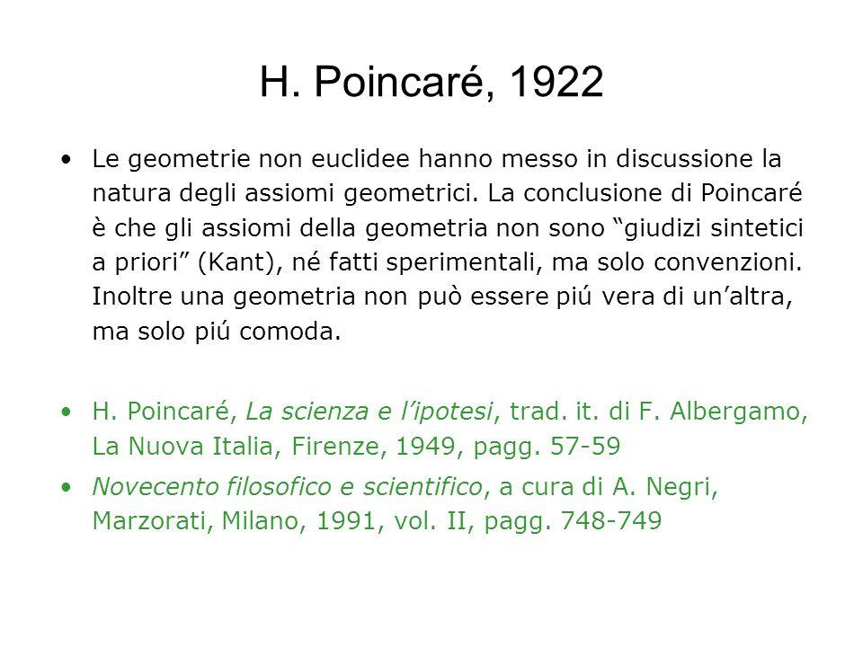 H. Poincaré, 1922